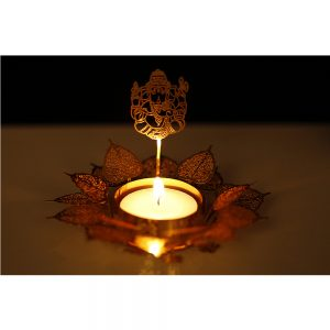 Orchid Art & Craft Nature Basket Tealight Candle Holder Golden Gift Set With The Shape Of Lord Ganesha