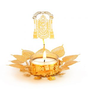 Orchid Art & Craft Nature Basket Tealight Candle Holder Golden Gift Set With The Shape Of Lord Balaji