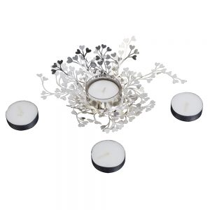 Orchid Art & Craft Nature Basket Tealight Candle Holder Silver Gift Set With Handcut Heart Shape Leaves