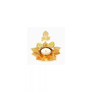 Orchid Art & Craft Nature Basket Tealight Candle Holder Golden Gift Set With The Shape Of Lord Shiva