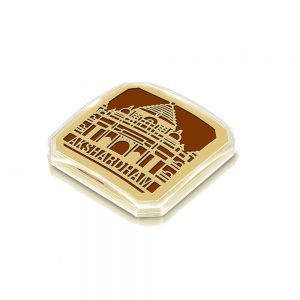 Orchid Akshardham Magnet Souvenir in a Square Shape with a Red Base