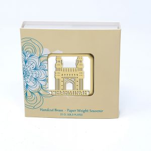 Orchid Charminar  Paper Weight in a Square Shape With White Base