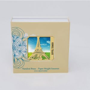 Orchid Eiffel Tower  Paper Weight in a Square Shape