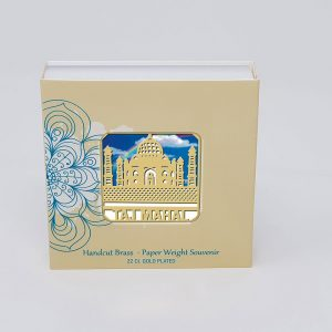 Orchid Taj Mahal  Paper Weight in a Square Shape