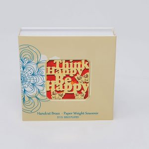 Orchid Think Happy Be Happy  Paper Weight in a Square Shape