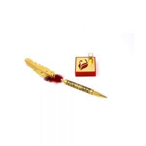 Orchid Red Rooster Feather Pen Gift Set With Stand With Dotted Red Feather